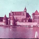 Farbdia der Ordensburg an der Nogat aus den 30er Jahren