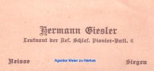 Hermann Giesler Visitenkarte 1WK